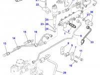 Топливная трубка шестого цилиндра двигателя Perkins трактора Massey Ferguson — 4226829M1