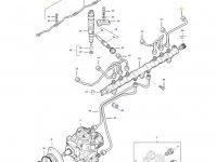 Топливная трубка шестого цилиндра двигателя трактора Massey Ferguson — 837074673